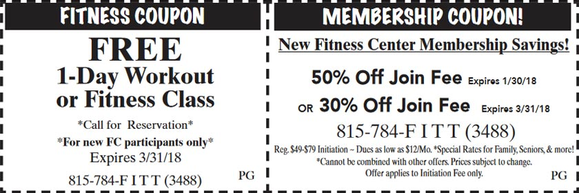Fitness Center Coupons - Click to Print Out